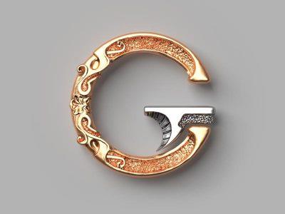 logo en 3D sculpté comme un bijou luxueux